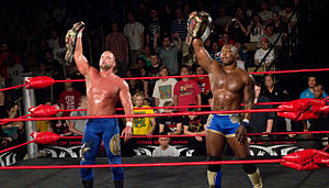 The World's Greatest Tag Team - Charlie Haas (left) and Shelton Benjamin (right) as the ROH World Tag Team Champions in March 2012.