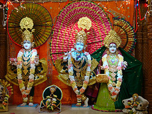 International Swaminarayan Satsang Organisation - Swaminarayan in the form of Ghanshyam with Radha Krishna at the Swaminarayan temple in Los Angeles under ISSO