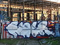 Railway, gate, graffiti, Brno.JPG
