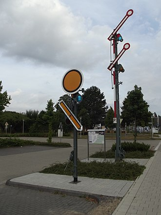 Railway semaphore signal - German semaphore distant (left) and home (right) signal exhibition in Steinfurt, Germany.