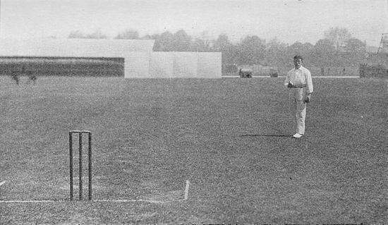 Ranji 1897 page 087 Davidson standing before his run.jpg