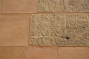 Chapelle Rouge - Detail of the Red Chapel showing Thutmose III following Hatshepsut and restoration work