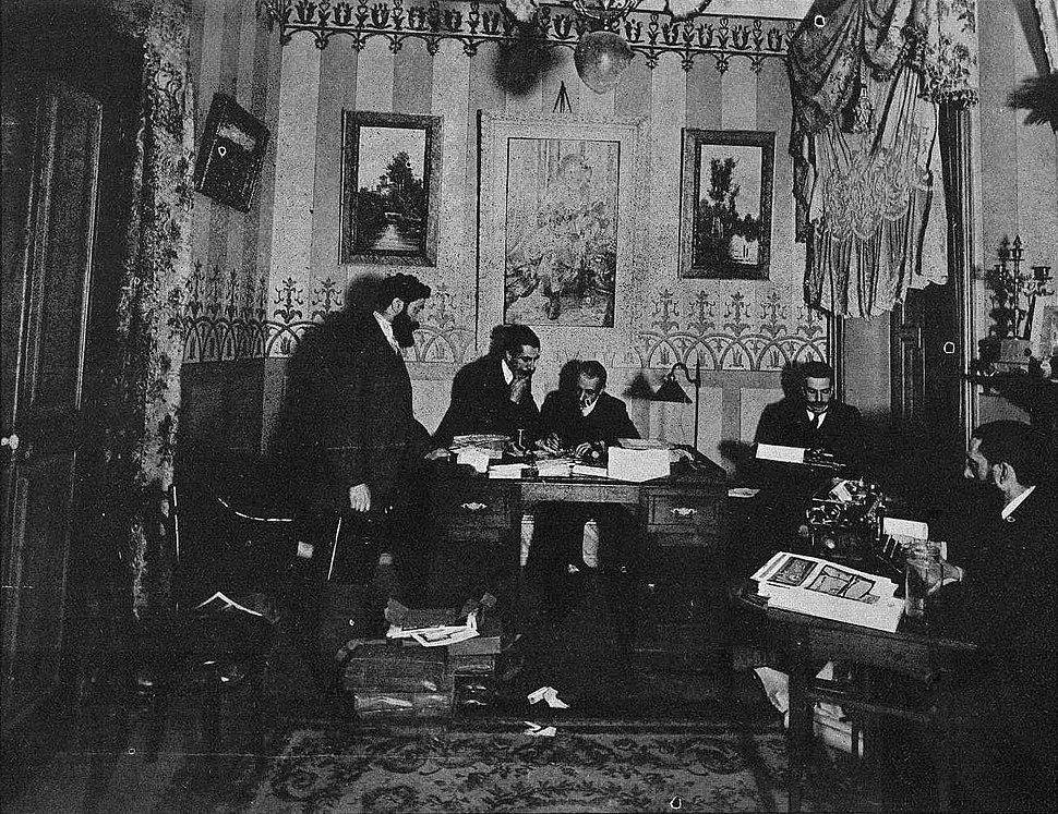 Redacción de Vida Gallega, 1909. Gil, Juan Tato Lens, Solá, Julián García Larrú e Julián Iglesias.