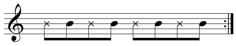 Reggae eighth note rhythm guitar pattern.png
