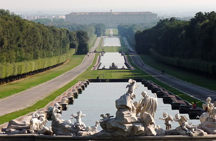 The grand gardens of the baroque Palace of Caserta Reggia Caserta parco 03-09-08 f01.jpg