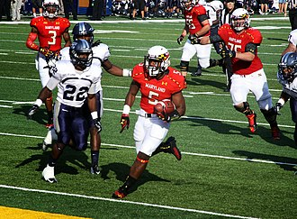 2013 Maryland Terrapins football team - Maryland running back Albert Reid finds the endzone on a 27-yard run during the Terps 47–10 win over Old Dominion on September 7, 2013.