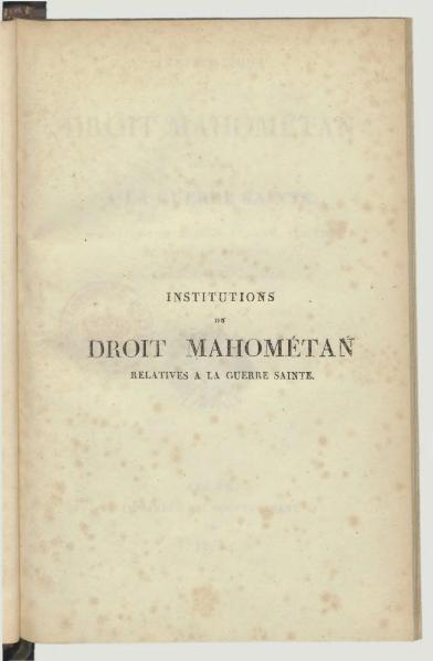 File:Reland - Institutions du droit mahométan relatives à la guerre sainte, trad. Solvet, 1838.djvu