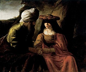 Tamar (Genesis) - Judah and Tamar, school of Rembrandt