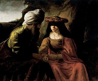Yibbum - Judah and Tamar, by Rembrandt (1650s). An early example of a Yibbum-like practice is the biblical story of Judah and Tamar.
