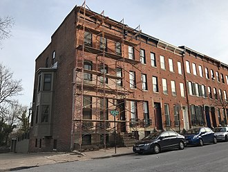 Repointing - Repointing the front façade of a rowhouse in Baltimore, MD