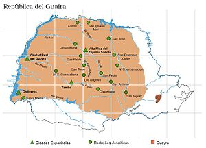 Jesuit reduction - Map of the modern state of Paraná, Brazil showing the Guayrá region in brown, Jesuit missions are marked with crosses. All the missions were abandoned by 1638 and inhabitants moved southwestward.