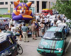 Art car - An example of an art car event - cars gathered in Providence, RI at the Rhode Rally 2000