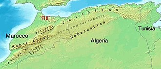 Sahara Sea - A relief map of northwestern North Africa.