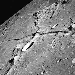 Graben - Rima Ariadaeus on the Moon is thought to be a graben. The lack of erosion on the Moon makes its structure with two parallel faults and the sunken block in between particularly obvious.