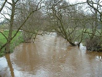 River Rye, Yorkshire - River Rye near Nunnington, swollen after heavy rain.