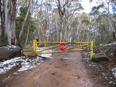 The road to Mount Franklin, A.C.T., was built by the Canberra Alpine Club in the 1930s Road Closed Mount Franklin.jpg