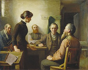 Robert Harris (painter) - A Meeting of the School Trustees (1885, National Gallery of Canada