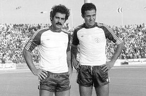 Al-Hilal FC - Roberto Rivelino (left) and Najeeb Al Imam (right) playing for Al-Hilal in 1979