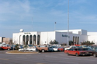 Cherryvale Mall - South parking lot in 1976.  Marshall Field's was replaced by Macy's in 2006, using nearly identical store exterior.
