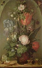 Bouquet de fleurs avec deux lézards