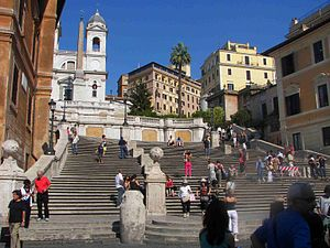 Spanish Steps - The Spanish Steps: the cream-coloured building partially visible to the right is the apartment where John Keats lived, now the Keats-Shelley Memorial House.