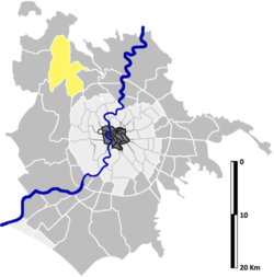 Location of La Storta in relation to the outer zones of Rome