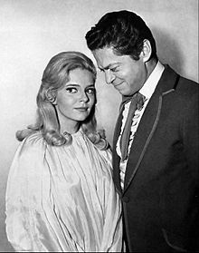 Ann Elder in a publicity photo for The Wild Wild West (1966) with one of the show's stars, Ross Martin.