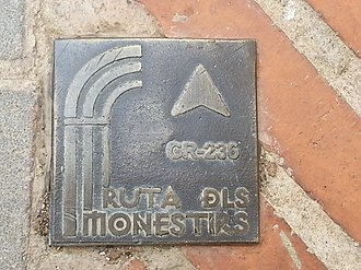 Pinet, Valencia - Route marker for Route of the Monasteries of Valencia in Pinet