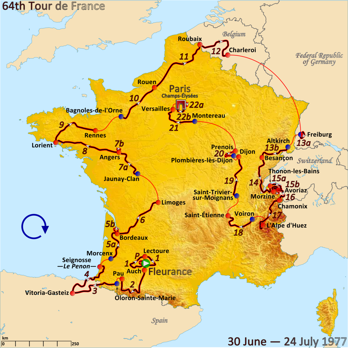 Tour De France Route Through Paris
