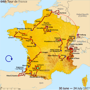 1977 Tour de France, Prologue to Stage 11 - Route of the 1977 Tour de France
