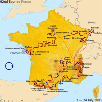 Map of France with the route of the 2005 Tour de France