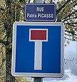 Rue Pablo Picasso (Belley), panneau de rue.jpg