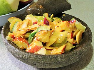 Rojak Indonesian traditional fruit and vegetable dish