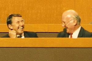 Russell Johnston - Russell Johnston (right) shares a joke with David Steel at the Liberal Party Assembly in 1987