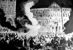 Friedrich Wilhelm Rembert von Berg - Russians demolishing Zamoyski Palace in Warsaw, in the aftermath of the assassination attempt (the assassins were hidden in the palace)