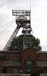 An elevator tower at a coal mine