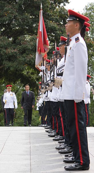 Singapore Armed Forces Military Police Command - Members of the Singapore Armed Forces Military Police Command's Law Enforcement and Ceremonial Company executing a Guard of Honor parade for the President of the Republic of Botswana, Ian Khama