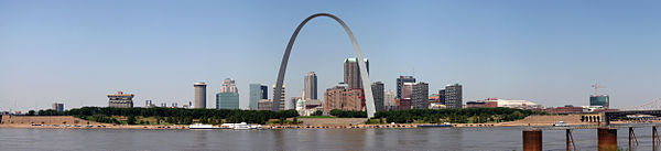 A panorama of St. Louis, Missouri, from East St. Louis, Illinois.