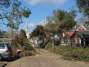 Late December 2012 North American storm complex - Damage in on South Carlen Street in Mobile, Alabama, caused by an EF2 tornado.