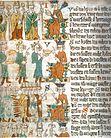 Die Wahl des Königs. Oben: drei geistliche Fürsten bei der Wahl, sie zeigen auf den König. Mitte: Der Pfalzgraf bei Rhein überreicht als Truchsess eine goldene Schüssel, dahinter der Herzog von Sachsen mit dem Marschallsstab und der Markgraf von Brandenburg, der als Kämmerer eine Schüssel mit warmem Wasser bringt. Unten: der neue König vor den Großen des Reiches (Heidelberger Sachsenspiegel, um 1300)