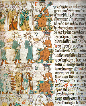 Sachsenspiegel - Choosing the king. At the top: the three ecclesiastical princes choosing the king, pointing at him. At the centre: the Count Palatine of the Rhine hands over a golden bowl, acting as a servant. Behind him, the Duke of Saxony with his marshall's staff and the Margrave of Brandenburg bringing a bowl of warm water, as a valet. Below, the new king in front of the great men of the empire (Heidelberg Sachsenspiegel, around 1300)
