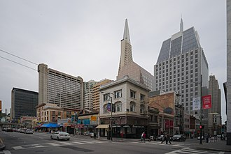 Kearny Street - Corner of Kearny and Sacramento (with the Transamerica Pyramid and other Montgomery Street buildings in the background)