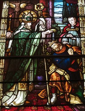 Saint Patrick Church (Columbus, Ohio) - The church's window depicting Saint Patrick baptizing the King of Ireland