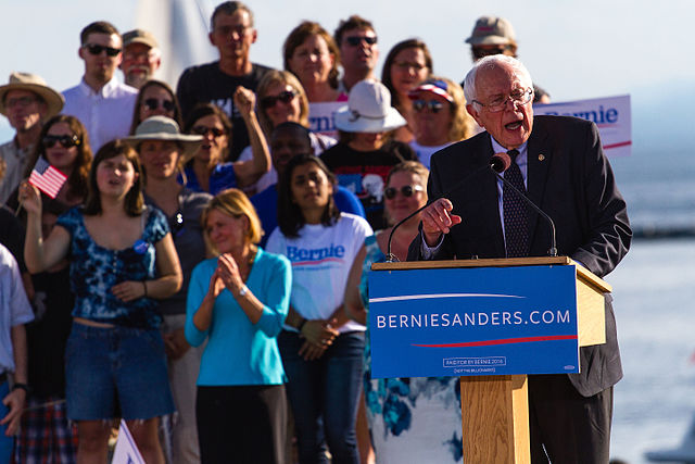 From commons.wikimedia.org: Sanders presidential campaign kickoff, May 2015 Bernie Sanders {MID-236481}