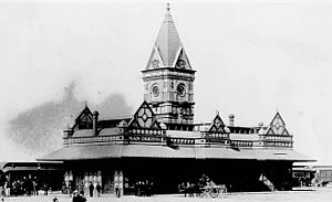 Santa Fe Depot (San Diego) - California Southern's San Diego passenger terminal as it appeared toward the end of the 19th century. An early predecessor of the San Diegan is waiting to depart.