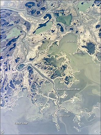 Saskatchewan River - May 11, 2007 NASA photo of a portion of the Saskatchewan River Delta and Cedar Lake