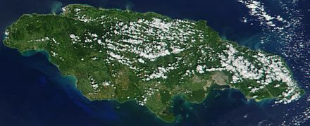 Satellite image of Jamaica in November 2001. Cropped image, original taken from NASA's Visible Earth