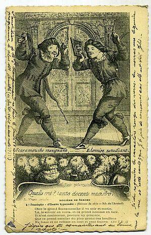 Tiberio Fiorilli - Scaramouche (Fiorilli) teaching Élomire (Molière) his student, frontispiece to Le Boulanger de Chalussay's attack on Molière, 1670