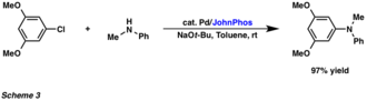 John P. Wolfe - An example of the catalytic amination of aryl chloride with N-methylaniline at room temperature.