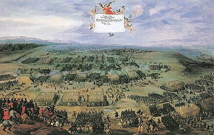 Contemporary painting showing the Battle of White Mountain (1620), where Imperial-Spanish forces under Johann Tserclaes, Count of Tilly won a decisive victory. Schlacht am Weissen Berg C-K 063.jpg